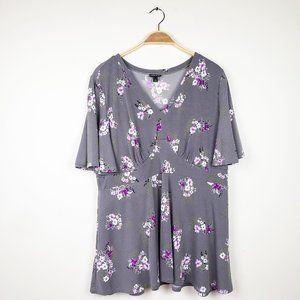 Torrid Gray Purple Flower Flutter Short Sleeve Top